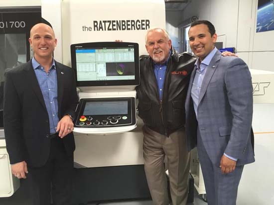 Meeting at the CNC machine are, from left, Elite Aviation Products President and CEO Dustin Tillman; U.S. manufacturing advocate John Ratzenberger, the official ambassador for Elite Aviation Products; and Zeeshawn (Zee) Zia, co-founder and chief operating officer of Elite Aviation Products. Photo courtesy of Elite Aviation Products.