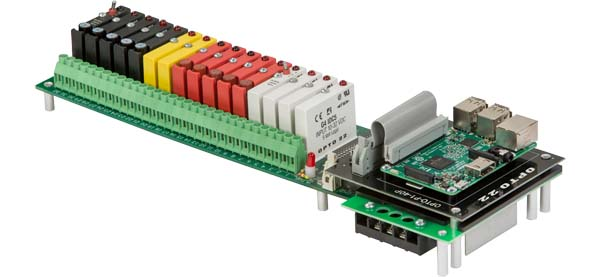 Using the Digital I/O Carrier Board enables Raspberry Pi developers to incorporate industrially hardened I/O modules in their applications, with a wide range of electrical load switching and sensing capabilities. Image courtesy of Opto 22.
