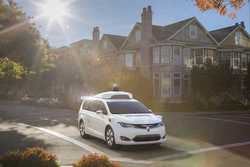 Waymo, formerly Google's self-driving car project, shows off its fully self-driving Chrysler Pacifica Hybrid Minivan. Image courtesy of Waymo.