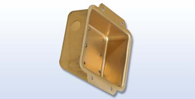 This is a hydroformed aluminum gyro housing made by Amalco for use in industrial communications. It has been pierced and includes an iriditefinishing.