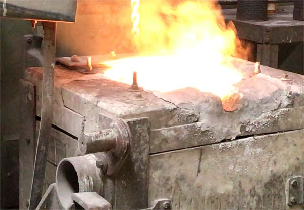 A hot crucible at Engineered Precision Casting Company