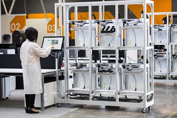 Manufacturers can increase the scale of their 3D printing production using Type A Machines' Print Pod, which allows simultaneous production of multiple jobs using multiple materials. Photo courtesy of Type A Machines, Oakland, Calif.