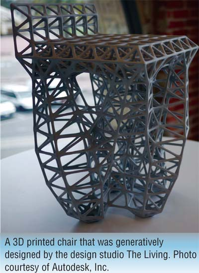 A 3D printed chair that was generatively designed by the design studio The Living. Photo courtesy of Autodesk, Inc.