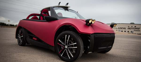 A view of the Strati, developed by Local Motors as the world's first 3D printed electric car. The vehicle was manufactured using a large-scale 3D printer developed by Oak Ridge National Laboratory, in conjunction with Cincinnati Inc. Image courtesy of Local Motors.