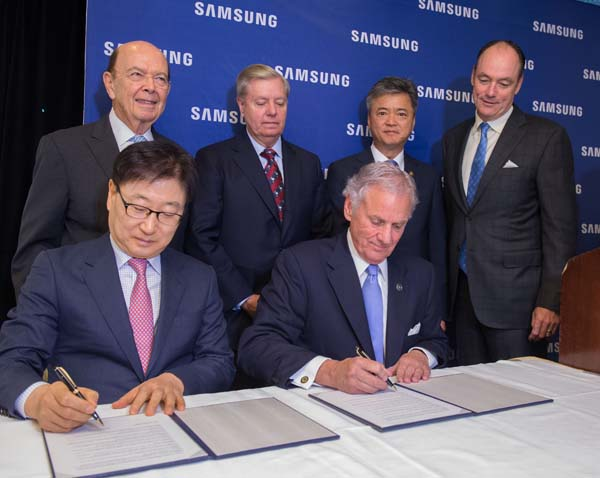 Samsung Electronics America announce plans to open a Samsung manufacturing facility in Newberry, SC The plant is slated to bring 954 jobs to the region by 2020.