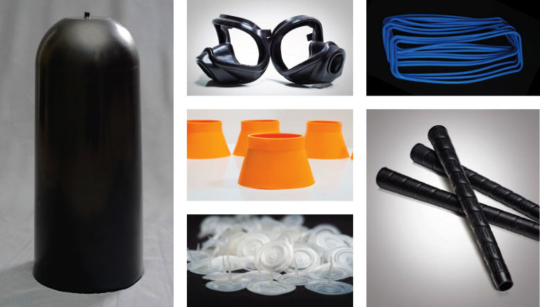 Among the numerous parts ARC manufactures are one-off prototypes, golf club grips, automotive gaskets, yellow airline oxygen mask components, hydraulic accumulator bladders and grips for baseball bats and industrial tools.