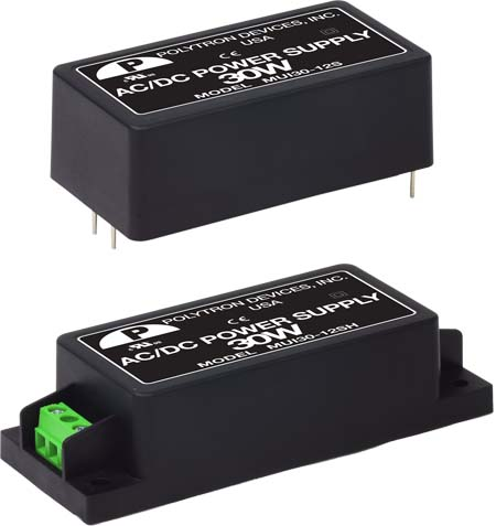Polytron's MUI30 series of universal input AC-DC power supplies for medical applications is designed for use in applications of up to 30 watts. Photo courtesy of Polytron Devices, Dover, N.J.