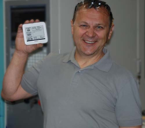 Greg Wolanin from American Tool in Newington CT with an eTraveler tag